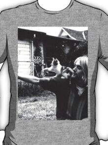 Kurt Cobain w/ a cute cat T-Shirt