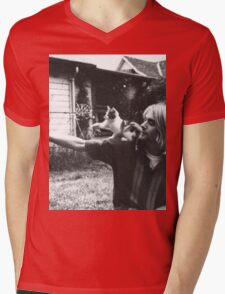 Kurt Cobain w/ a cute cat Mens V-Neck T-Shirt