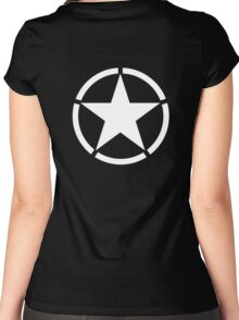 ARMY, American Star, Star & Circle, Jeep, WWII, America, American, Americana,  USA, White on Black Women's Fitted Scoop T-Shirt