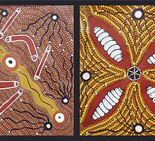 Boomerang, Spears Tribesman and Bush Food by Julian Johnstone