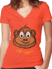 A Be Happy Chimp T-shirt, leggings, etc. Women's Fitted V-Neck T-Shirt