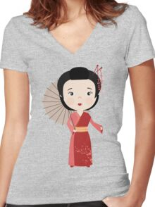 Chinese woman Women's Fitted V-Neck T-Shirt