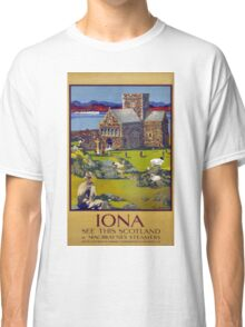 Iona Scotland Vintage Travel Poster Restored Classic T-Shirt