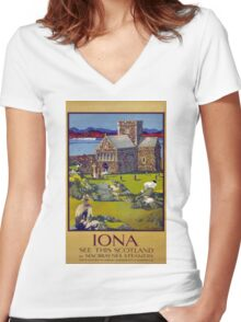 Iona Scotland Vintage Travel Poster Restored Women's Fitted V-Neck T-Shirt