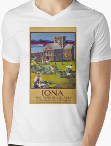 Iona Scotland Vintage Travel Poster Restored Mens V-Neck T-Shirt