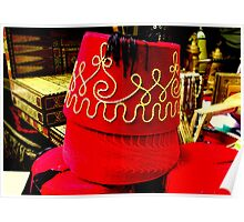 Hats In Red Poster