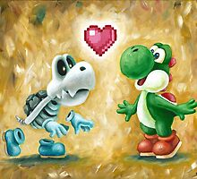 Yoshi Loves Dry Bones! Yoshi Art, Dry Bones Art, Video Game Art by Katie Clark