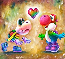 Rainbow Yoshi Loves Dry Bones! Yoshi Art, Dry Bones Art, Video Game Art by Katie Clark