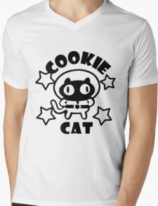 Cookie Cat - White & Black w/ text Mens V-Neck T-Shirt