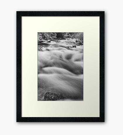 Boulder Creek In Black and White Framed Print