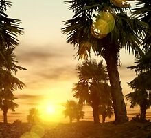 palm trees at sunset by Cheryl Dunning
