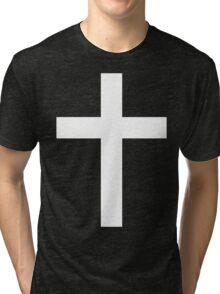 Christian Cross White on Black Tri-blend T-Shirt