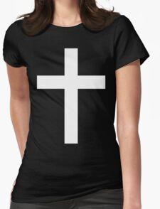 Christian Cross White on Black Womens Fitted T-Shirt