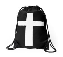 Christian Cross White on Black Drawstring Bag