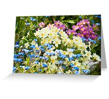 A Waiting Game: Primroses and Forget-me-nots Greeting Card