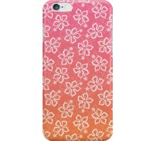 Pink Orange Ombre Hibiscus Pattern iPhone Case/Skin