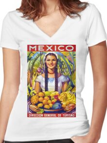 Mexico Vintage Travel Poster Restored Women's Fitted V-Neck T-Shirt
