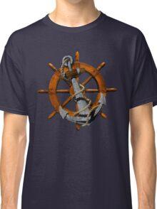 Nautical Ships Wheel And Anchor Classic T-Shirt