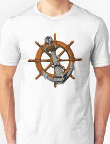 Nautical Ships Wheel And Anchor T-Shirt