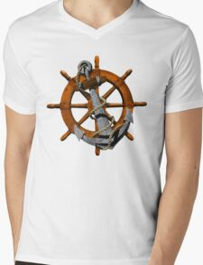 Nautical Ships Wheel And Anchor Mens V-Neck T-Shirt