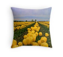 Yellow Tulip Fields Throw Pillow