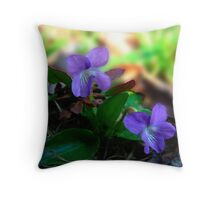 Two of a Kind Violets Throw Pillow