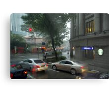 Streets of Singapore city under the rain Metal Print