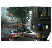 Streets of Singapore city under the rain Poster
