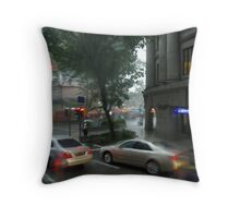 Streets of Singapore city under the rain Throw Pillow