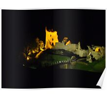 Urquhart castle at night Poster