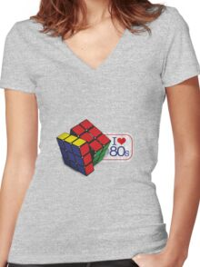 I love the 80's - Cube Women's Fitted V-Neck T-Shirt