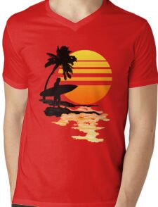 Surfing Sunrise Mens V-Neck T-Shirt