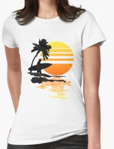 Surfing Sunrise Womens Fitted T-Shirt