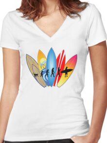 Surfing Evolution Women's Fitted V-Neck T-Shirt