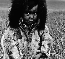 USA Alaska eskimo boy 1970s by blackwhitephoto