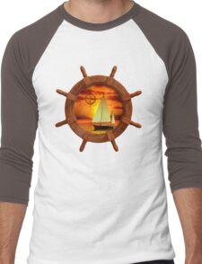 Sailboat And Compass Rose Men's Baseball ¾ T-Shirt