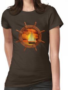 Sailboat And Compass Rose Womens Fitted T-Shirt