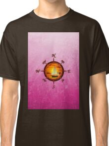 Sailboat And Compass Rose Pink Classic T-Shirt