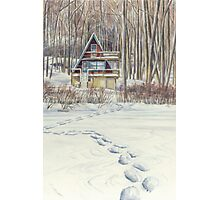 Winter cabin Photographic Print