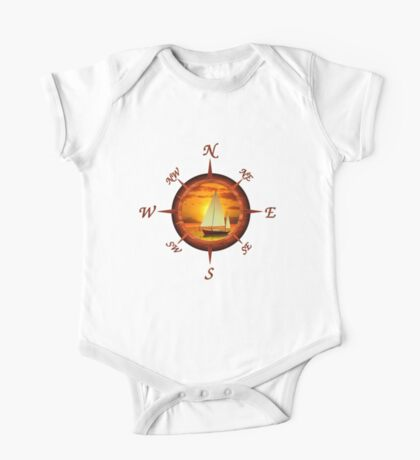 Sailboat And Compass Rose One Piece - Short Sleeve