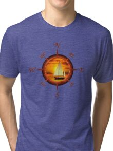 Sailboat And Compass Rose Tri-blend T-Shirt