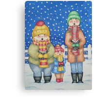 funny carol singers in the snow Christmas art Canvas Print