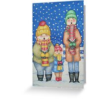 funny carol singers in the snow Christmas art Greeting Card