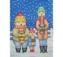 funny carol singers in the snow Christmas art Photographic Print