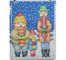 funny carol singers in the snow Christmas art iPad Case/Skin