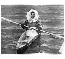 BW USA Alaska eskimo and his kayak 1970s Poster