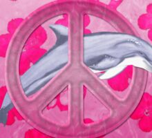 Dolphin Peace Pink Hibiscus Sticker