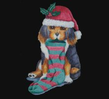 cute black and brown puppy with christmas stocking One Piece - Long Sleeve
