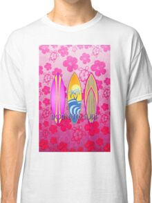 Pink Born To Surf Pink Flowers Classic T-Shirt