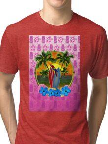 Tropical Sunset Pink Tiki Mask Tri-blend T-Shirt